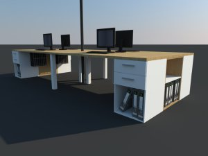 4 in one cluster workstation with power pole