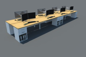 8 seater cluster workstation with Dh pedestals crop office desking