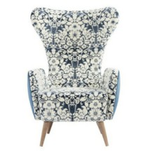 Soft seating Wingback blue floral chair